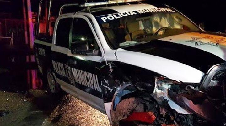 Patrulla municipal se pasa alto y provoca tremendo choque en San Luis Río Colorado