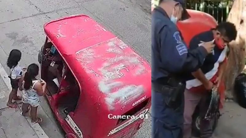 FUERTE VIDEO: ¡Monstruo! Captan a taxista pedófilo al manosear a dos niñas en plena calle