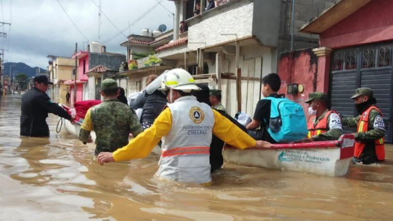Reportan dos personas desaparecidas tras las fuertes lluvias registradas en Chiapas