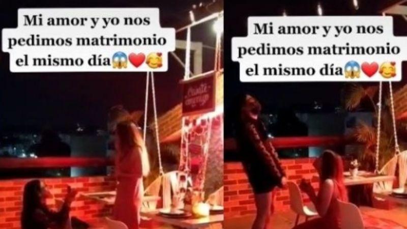 VIDEO: ¡Cuánta conexión! Dos novias se sorprenden al pedirse matrimonio el mismo día