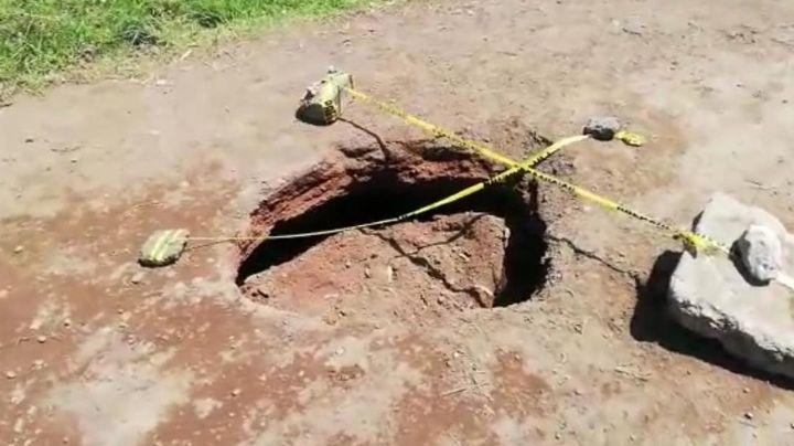 Aparece supuesto nuevo socavón en Puebla; autoridades niegan que haya peligro