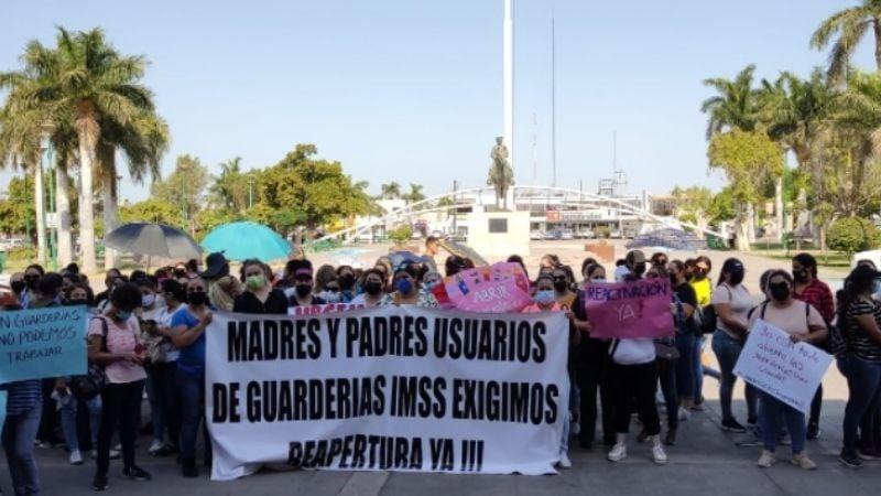Cajeme: Trabajadores y padres de familia exigen la reapertura de guarderías