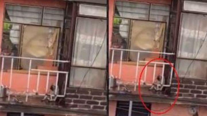 VIDEO: Perrito es abandonado en un balcón durante lluvia torrencial; cibernautas estallan
