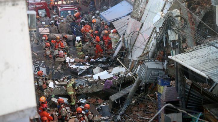 Colapsa edificio de 4 pisos en Brasil; confirman la muerte de una niña y su padre