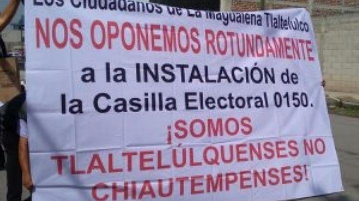 Por cambio de ubicación, pobladores de Tlaltelulco bloquean casilla en Tlaxcala
