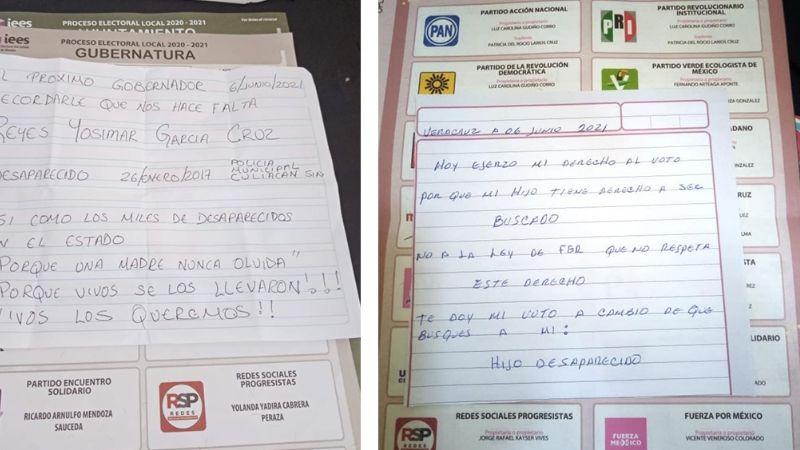 """Colocan mensajes por personas extraviadas en Sonora: """"Te cambio mi voto por mi desaparecido"""""""