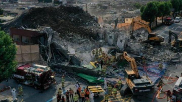 VIDEO: 9 muertos en Corea del Sur; un edificio de 5 pisos se desplomó sobre un autobús