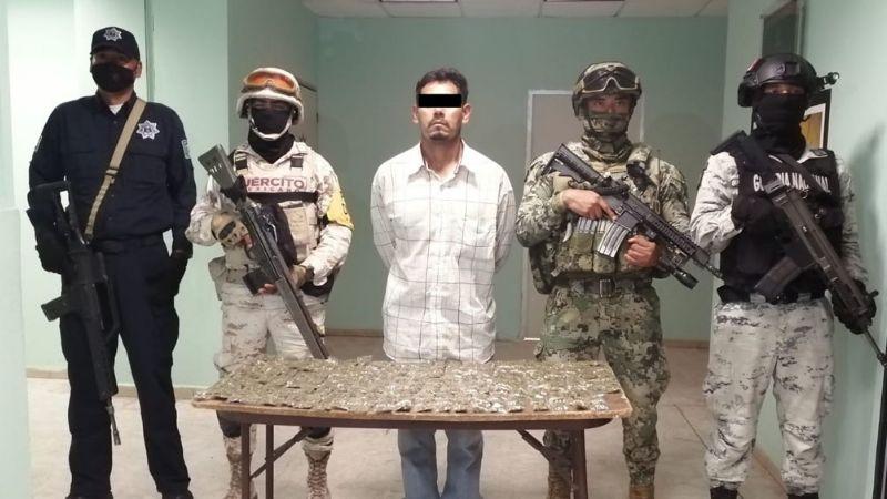 Cajeme: Durante operativo, autoridades aprehenden a Miguel Ángel con grandes cantidades de droga