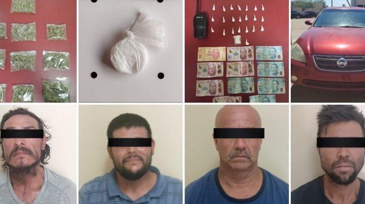 Caen cinco presuntos 'tiradores' en San Luis Río Colorado; incautan 40 paquetes de droga