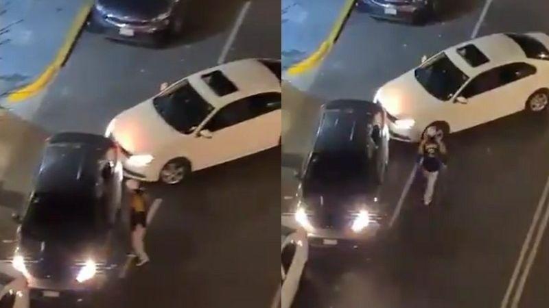 VIDEO: ¡De no creerse! Con un bate, sujeto golpea a coche y chofer; se estacionó en su entrada