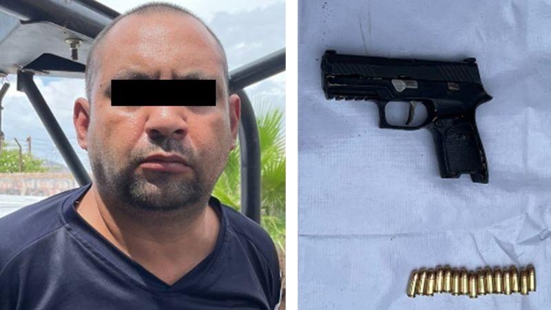 Detienen a presunto sicario en calles de Guaymas; llevaba un arma de fuego cargada