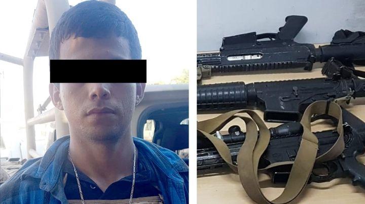 Cae presunto sicario en Guaymas; le aseguran armas largas, equipo táctico y auto robado