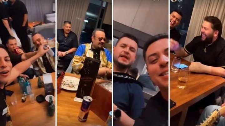 VIDEO: ¡Se fueron de parranda! Pepe Aguilar aparece junto a Eduin Caz, Edén Muñoz y El Fantasma