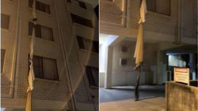 FOTOS: Un hombre es captado mientras huía de un hotel Covid; hizo una cuerda de sábanas