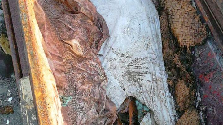 Abandonan en el basurero un cuerpo putrefacto dentro de un féretro; policías investigan