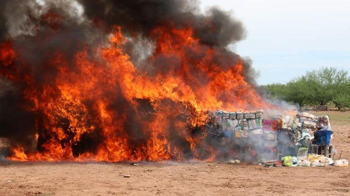 Golpe al narco en Sonora: Incineran casi 5 toneladas de drogas y 684 litros de sustancias