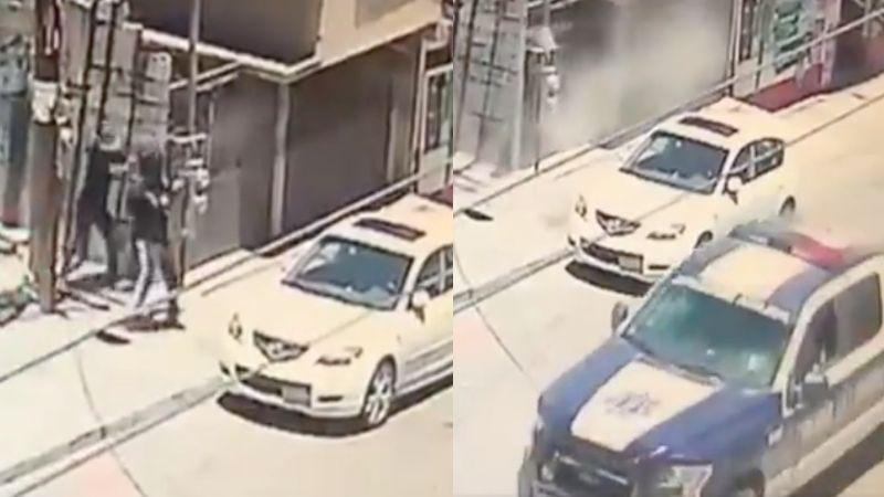 FUERTE VIDEO: A plena luz del día, 'niños sicarios' emboscan y acribillan con AK-47 a dos policías