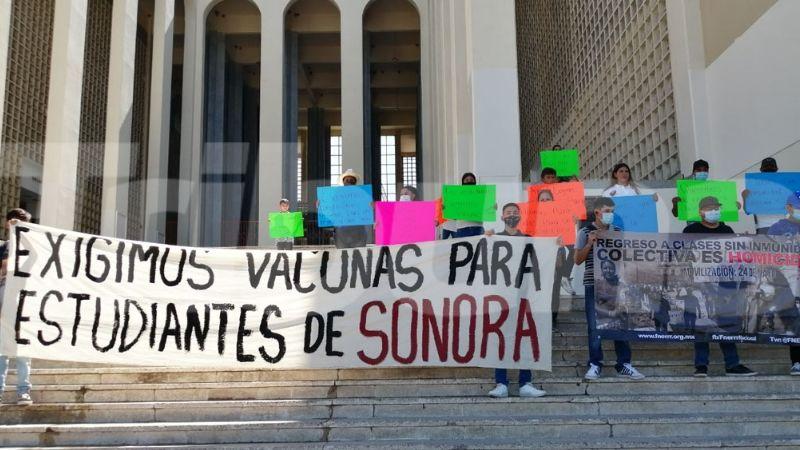 Por pandemia de Covid-19, estudiantes exigen regreso seguro a las aulas en Hermosillo