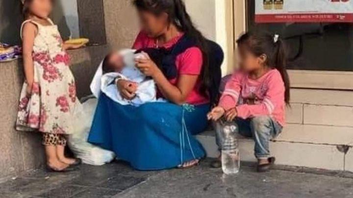 Va de compras y no regresa: Señora abandona a bebé con mujer que pide dinero en la calle