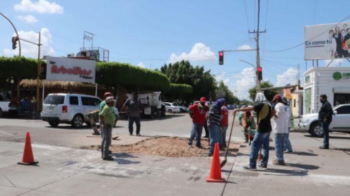 Cajeme: Ayuntamiento repara nueva falla en el crucero de la Tabasco y Guerrero